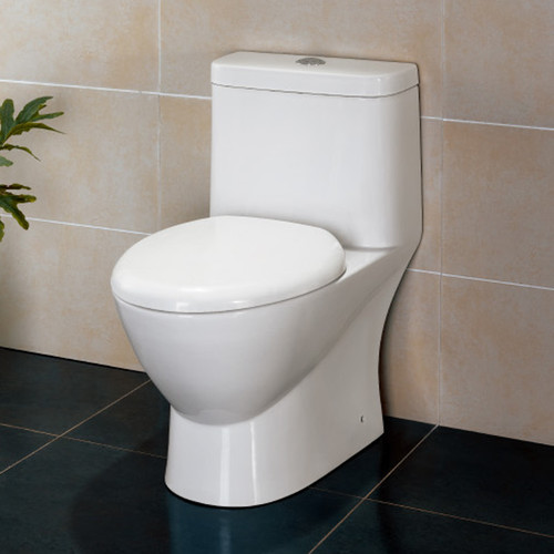 elongated toilet to save space in bathroom