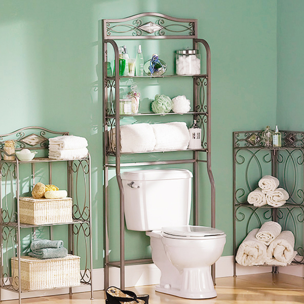 how to save space in bathroom with shelves